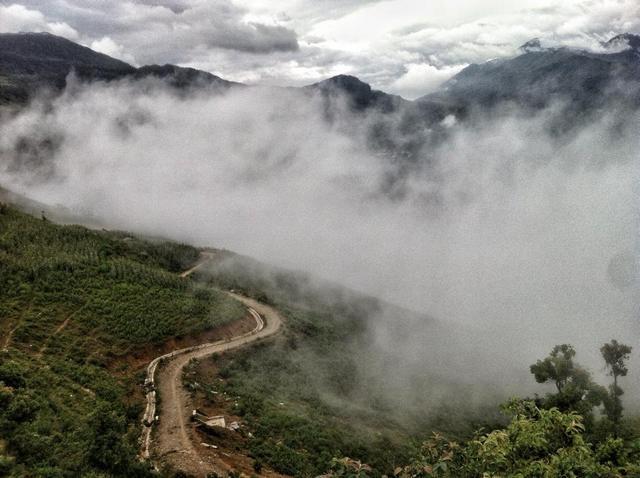 Der verträumte Landschaft des Weges von Ngai Thau- Y Ty