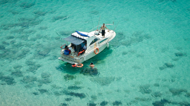 Crystal-clear and blue water is ideal for swimming.