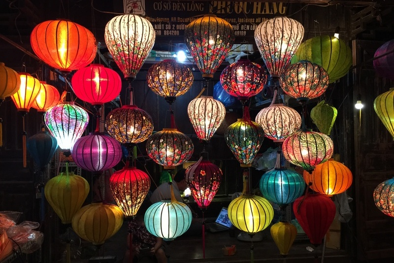 Colored lantern along the street