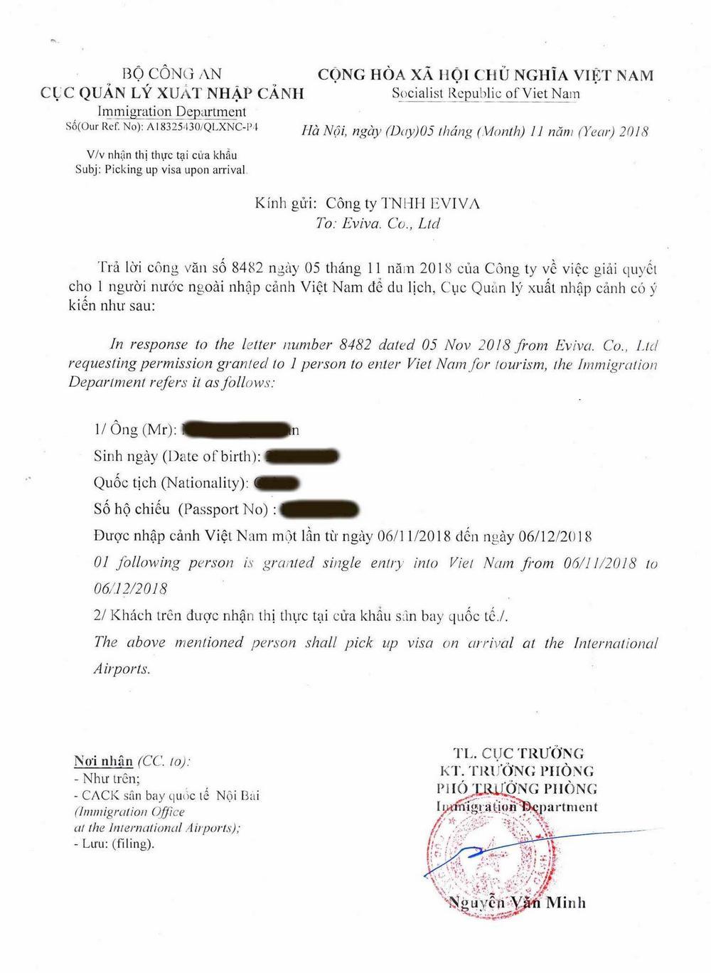 Vorab genehmigter Brief für das Vietnam-Visum