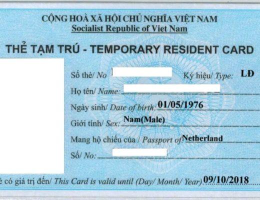 Temporäre Aufenthaltskarten (TRCs) in Vietnam
